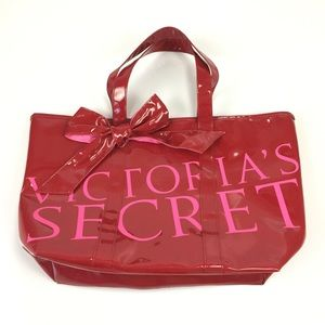 Victoria's Secret Red Faux Patent Leather Tote Bag